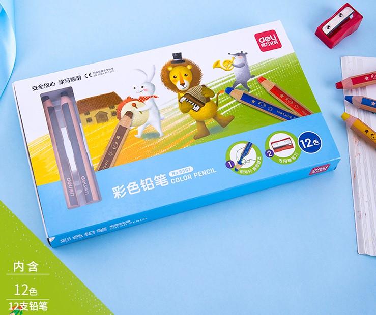 得力(deli)12色13mm粗杆学生三角杆彩色铅笔彩铅套装